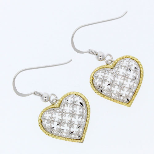 14kt yellow gold and sterling silver heart earrings_ The Source